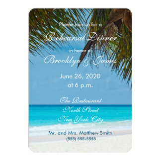 Palm Trees On Beach Wedding Rehearsal Invitations