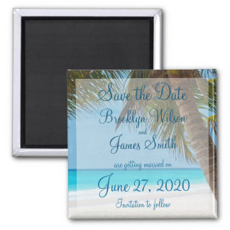 Palm Trees On Beach Wedding Save The Date Magnet