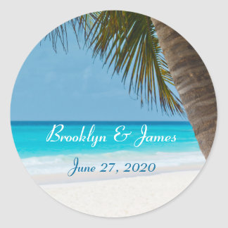 Palm Trees On Beach Wedding Stickers