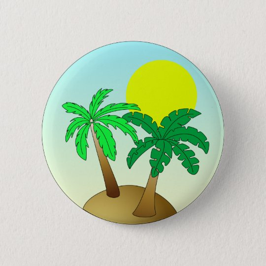 Palm trees on blue with sun 6 cm round badge