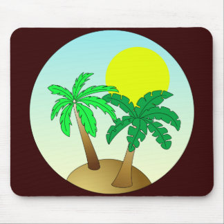 Palm trees on blue with sun mouse mat