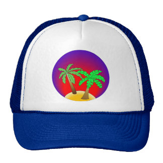 Palm trees on red and purple trucker hats