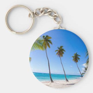 Palm trees on the beach of Isla Saona Basic Round Button Key Ring
