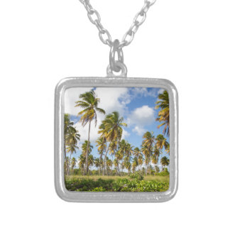 Palm trees on the beach of Isla Saona Square Pendant Necklace