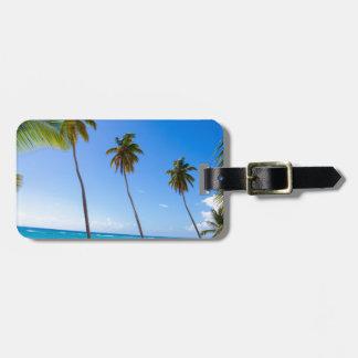 Palm trees on the beach of Isla Saona Tag For Luggage
