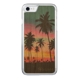 Palm trees on wood iPhone case