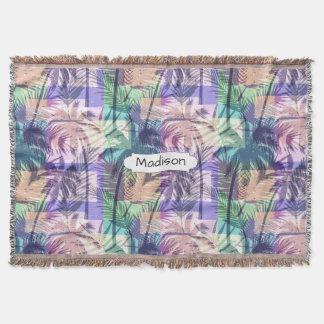 Palm Trees Pattern custom name throw blanket
