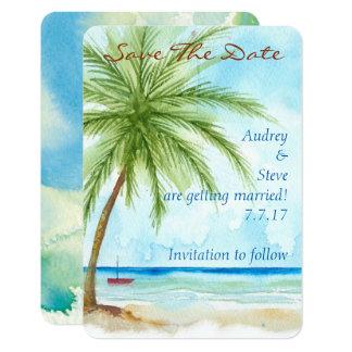 Palm Trees Save The Date Card 9 Cm X 13 Cm Invitation Card