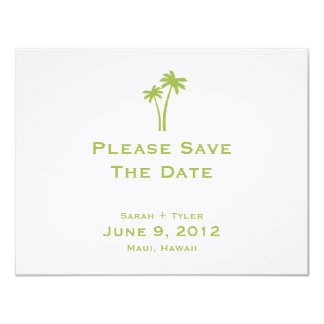 Palm Trees Save The Date Card - Lime 11 Cm X 14 Cm Invitation Card