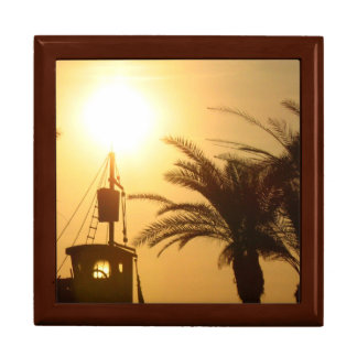 Palm Trees Ship Sun Cool Tile Gift Box, Golden Oak Large Square Gift Box
