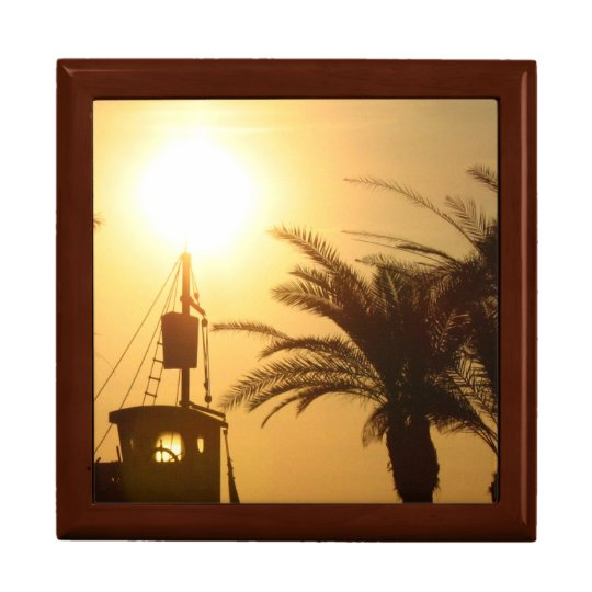 Palm Trees Ship Sun Cool Tile Gift Box,