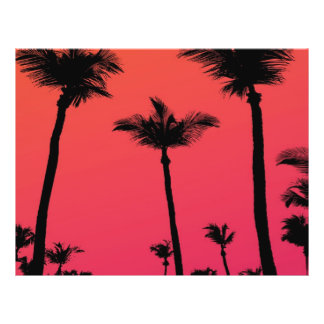 Palm Trees Silhouettes at Sunset 21.5 Cm X 28 Cm Flyer