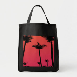 Palm Trees Silhouettes at Sunset Grocery Tote Bag