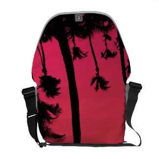Palm Trees Silhouettes at Sunset Messenger Bag