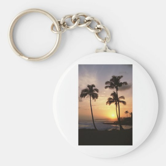 Palm Trees, Sunset, Beach, Hawaii Key Ring