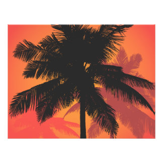 Palm Trees Sunset Silhouettes 21.5 Cm X 28 Cm Flyer