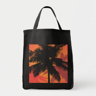 Palm Trees Sunset Silhouettes Grocery Tote Bag