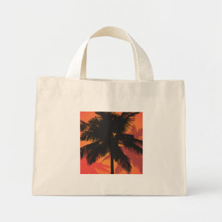 Palm Trees Sunset Silhouettes Mini Tote Bag