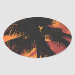 Palm Trees Sunset Silhouettes Oval Stickers