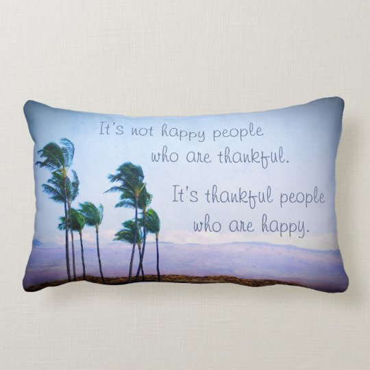 """Palm trees """"thankful"""" quote photo lumbar pillow"""