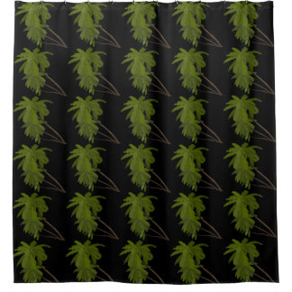 Palm Trees Tropical Hawaiian Themed Patterns Black Shower Curtain
