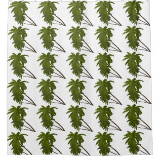 Palm Trees Tropical Hawaiian Themed Patterns White Shower Curtain