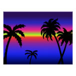Palm Trees Tropical Sunset Poster