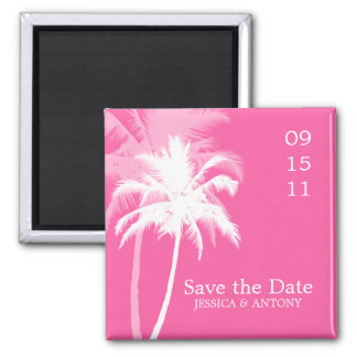 Palm Trees Tropical Wedding Save the Date or Favor Square Magnet