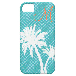 Palm Trees Turquoise Monogram iPhone 5 Cover