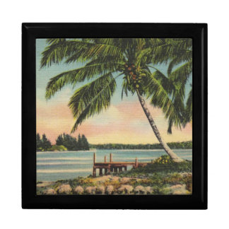 palm trees vintage large square gift box