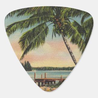 palm trees vintage plectrum