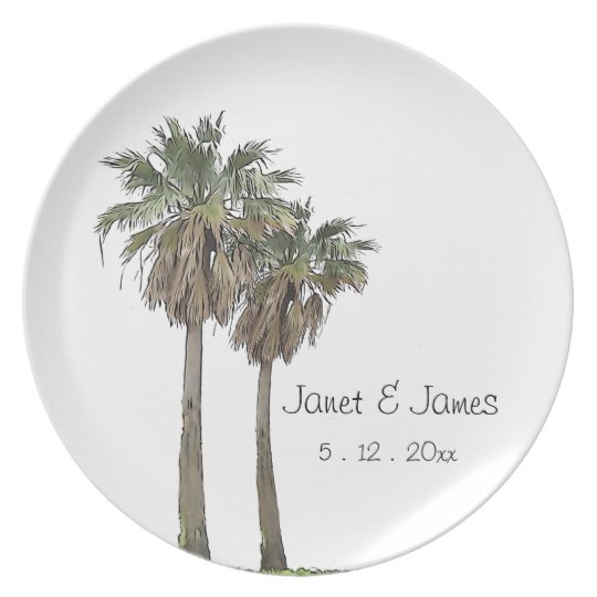 Palm Trees  Wedding Plate - Anniversary