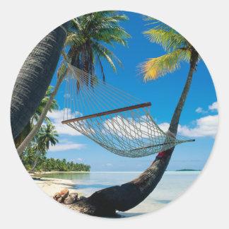 Palm Trees with Hammock Classic Round Sticker