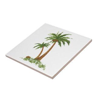 "Palm TreeTile 4.25x4.25"" Small Square Tile"