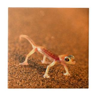 Palmatogecko On Sand Dune, Swakpomund, Erongo Small Square Tile