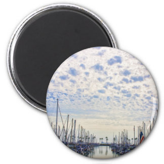 Palms Amidst Masts 6 Cm Round Magnet