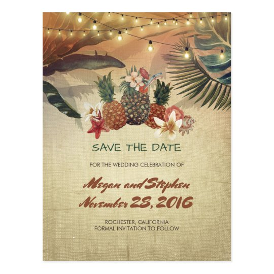 Palms and Pineapples Rustic Beach Save the Date