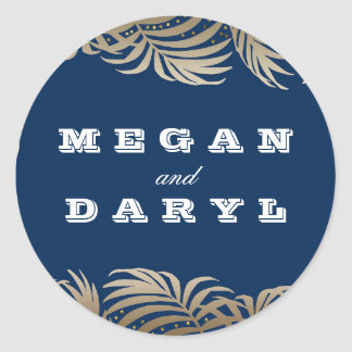 Palms Leaf Navy and Gold Beach Wedding Classic Round Sticker