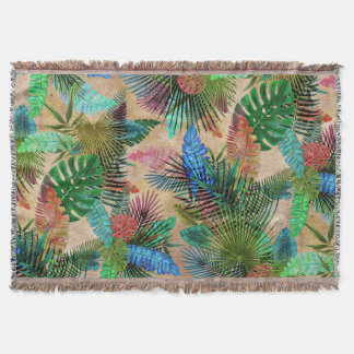 Palms Leaves on a Beige Background Throw Blanket