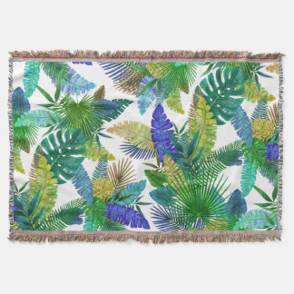 Palms Leaves on a White Background Throw Blanket
