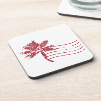 Palmtree rubber stamp drink coaster