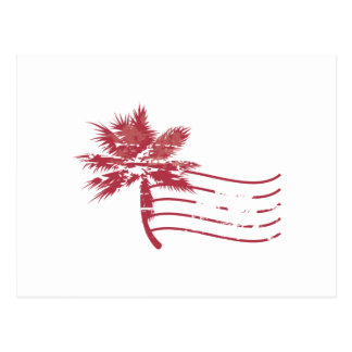 Palmtree rubber stamp postcard