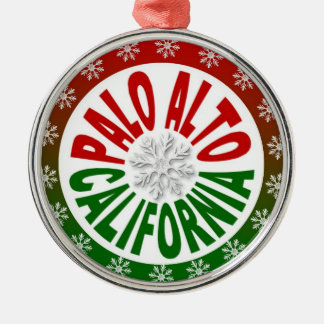 Palo Alto California red green holiday ornament