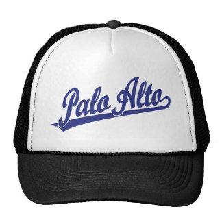 Palo Alto script logo in blue Cap