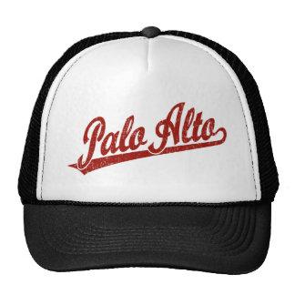 Palo Alto script logo in red distressed Cap