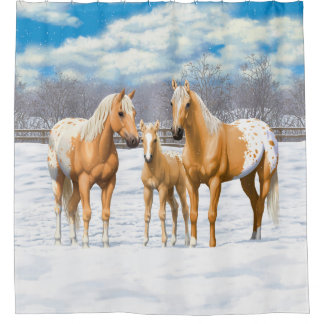Palomino Appaloosa Horses In Winter Pasture Shower Curtain