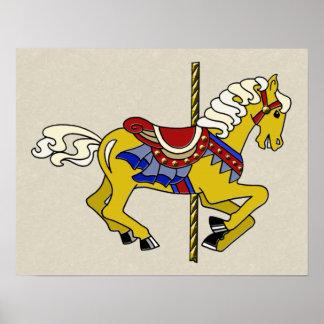 Palomino Carousel Horse Poster