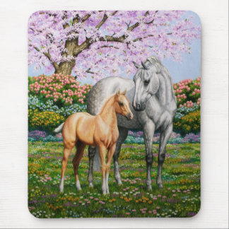 Palomino Foal and Gray Horse Mouse Pad
