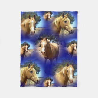 Palomino Horse Collarge, Blue Small Fleece Blanket