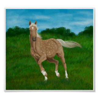 palomino horse in meadow poster